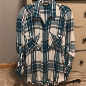 Blue/white/gray plaid shirt